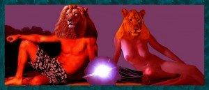 Lion-et-lionne-fond-nuit-300x129 dans Bestiaire fantastique